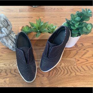 Vince Black Leather Loafer Shoes